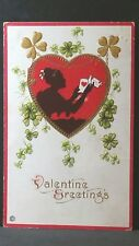 Valentine Greetings Vintage 1918 Valentine Post Card Woman's Sillouhette Heart
