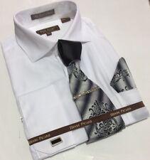 Men's HENRI PICARD French Cuff Dress Shirt WHITE Tie Hanky Cufflinks Set FC141