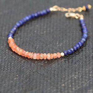 Natural Sunstone and Lapis Bracelet 14K Gold Filled June December Birthstones