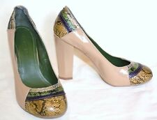 Beige Pattern Shoes Faux Snake Round Toe & Polygon Heel Size 5 Eur 38 Court