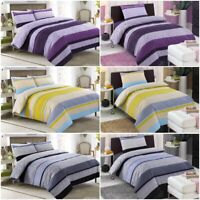 PURPLE YELLOW GREY STRIPE BEDDING PRINTED BED SHEETS KING SIZE DUVET QUILT COVER
