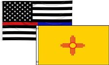 3x5 USA Thin Red Blue Line New Mexico State 2 Flag Wholesale Set Combo 3'x5'
