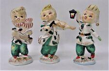 3 Vintage Lefton Christmas Carolers Holly Berry Trio Figurines w342