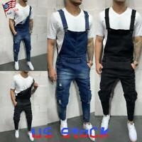 Men's Cargo Bib Jeans Ripped Denim Harem Pants Jumpsuits Suspenders Trousers US