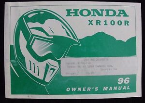 GENUINE 1996 HONDA 100 XR100R DIRT BIKE MOTORCYCLE OPERATORS MANUAL VERY GOOD