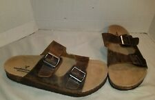 NEW AMERICAN EAGLE MEN'S BROWN LEATHER DOUBLE BUCKLE SLIDE SANDALS US 11