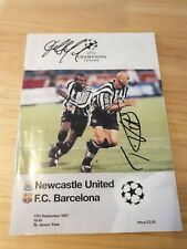 More details for newcastle v barcelona 1997 programme signed tino asprilla and temuri ketsbaia