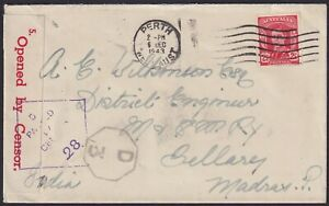 1943 Censor mail Perth to MADRAS, India.