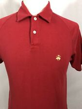 BROOKS BROTHERS Mens Polo Shirt SMALL Solid Red Yellow Emblem GOLF Original Fit