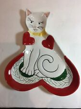 Porcelain Cat Shape With Red Hearts Hand Painted Snack Plate Made in Italy 7145