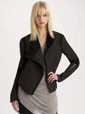 Helmut Lang Size Small S Wool and Leather Strata Moto Jacket in Graphite