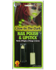 Women's Glow In The Dark UV Reactive Rave Costume Lipstick and Nail Polish