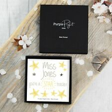 Silver Star Earrings Studs Thank You Teacher Personalised Gift Box Under £10