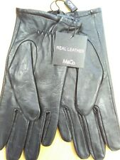M&Co Real Leather Gloves S/M Black