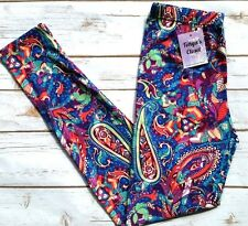 PLUS Size Paisley Leggings Bright Abstract Whimsical Paisley Printed Curvy 10-18