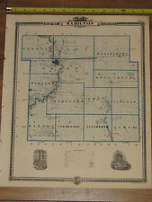1875 Atlas - Hamilton & Boone County, Reversable Iowa Map ORIGINAL -Webster City