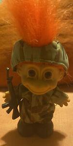 Vintage Russ Army Soldier Military Troll Orange Hair Doll Figurine