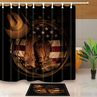 Western Cowboy Shoes On American Flag Shower Curtain set Bathroom decor 71inch