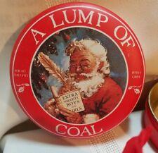 Vintage A Lump of Coal Tin Box Company Santa For All Naughty Boys and Girls Tin