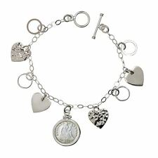 NEW Heart Charm Sterling Silver Coin Bracelet Silver Seated Liberty Dime 13671
