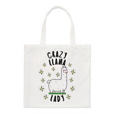 Crazy Llama Lady Stars Small Tote Bag - Funny Animal Shoulder