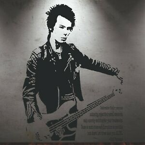 Sid Vicious Guitar Leather Jacket Quote Wall Art Sticker Never Let Take Alive