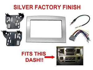 SILVER DOUBLE DIN DASH KIT INSTALL RADIO STEREO Fits 06 07 08 09 10 DODGE RAM