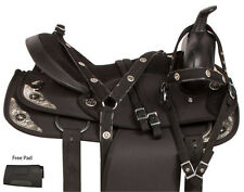 SYNTHETIC 14 15 16 17 18 WESTERN TRAIL HORSE BLACK LIGHT SADDLE TACK SET PAD