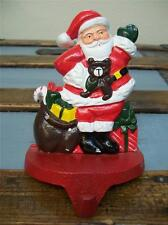 Waving Santa with Bag of Toys SOLID Cast Iron CHRISTMAS STOCKING HOLDER Hanger