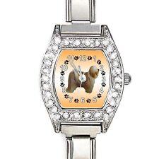 Tibetan Terrier CZ Ladies Stainless Steel Italian Charms Wrist Watch BJ1085