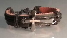 Christian Bracelet Laser-Etched Cross BLACK Leather Cuff w Black Trim Low Stock!