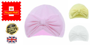 New Baby Infant Girls Turban Hat with Bow NB Baby Cap 100% Cotton 0-6 Months H13