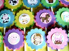 30 JUNGLE SAFARI NOAH ANIMALS Cupcake Toppers Bday Party Favors, Baby Shower