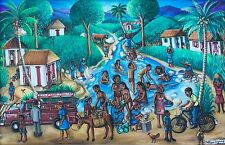 """""""At the River"""" by Wilson Bigaud - Naive Haitian Art - 36 inches x 24 inches"""