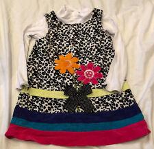 Bonnie Jean Purple Leopard Pink Corduroy Jumper Dress  Girl's Size 4T EUC