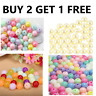 200 Acrylic Round Beads Smooth White Pearls Pastel Gems Crafts Sewing Shimmer UK