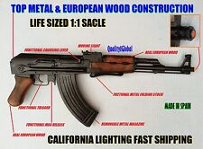 SALE LIFE SIZE EURO WOOD & METAL REPLICA AK-47 FOLDING STOCK MOVIE PROP GUN EKOL