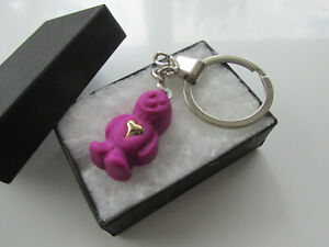 Handmade Miniature Purple Jelly Baby Sweet with a Heart of Gold Charm Keyring
