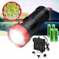 Rechargeable 40000 Lumen 10x XM-L T6 LED Flashlight Torch Lamp 4x18650 Charger