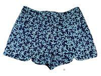 Draper James Womens Sz 6 SM Short Shorts Blue Floral Design 2019 SAMPLE Side Zip
