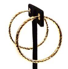 CLIP-ON EARRINGS 2 INCH HOOP EARRINGS HYPO-ALLERGENIC GOLD PLATED HOOPS SWIRLED