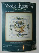 Needle Treasures Counted Cross Stitch Pansy Watering Can Blue Purple Flowers