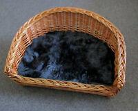 fiwo24  Weidenkorb /Sofa / Katzenbett /Hundebett echtes Lammfell grau  60cm
