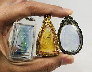 3X Phra Somdej Somdet Wat Rakang LP Toh Thuad leklai Kaew Thai Buddha amulet