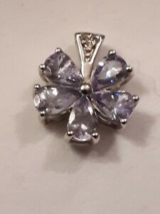 AA Tanzanite and White Topaz Sterling Silver Pendant ATGW 1.75cts