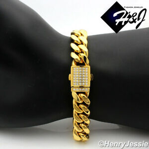 """7.5""""-11""""MEN Stainless Steel 10mm Gold ICY Miami Cuban Curb Chain Bracelet*GB165"""