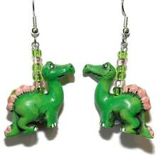ADORABLE GREEN & PINK DINOSAUR DANGLE EARRINGS (D158)