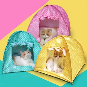 Pet Folding Kennel Tent Bed Kitten Cat Nylon Playpen House Sun Shelter Random