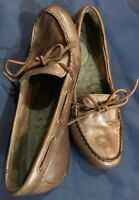 Women's EDDIE BAUER MOCASSIN Brown Leather Slipper Loafer Shoes Sz 9M 6027 237