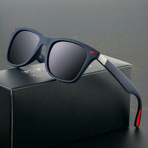 New Black Square Frame Polarized Sunglasses Driving Mens Designer Retro Eyeglass